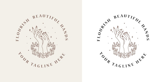 Feminines beauty boho logo mit femininer hand schmetterling mondnägel herz sterne kristall premium