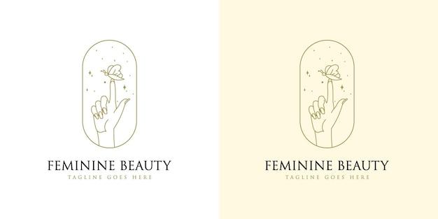 Feminines beauty-boho-logo mit frauenhandnagelstern und schmetterling für make-up-salon-spa-marken
