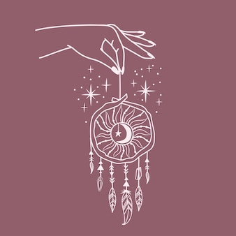 Feminines handlogo mit unterschiedlichen symbolen wie weltraumstern und traumfänger. handgezeichnete esoterische boho-stil. vektor-illustration