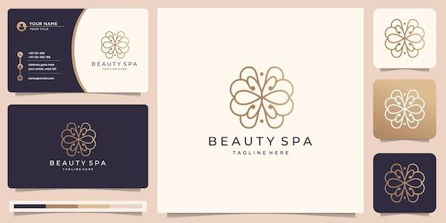 Feminines lineares beauty-spa-logo-design. goldene blumenzusammenfassung mit visitenkartenillustration.