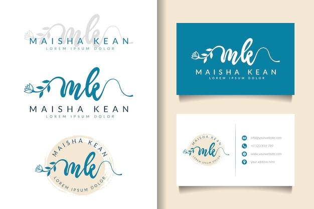 Feminines logo anfängliche mk und visitenkartenschablone