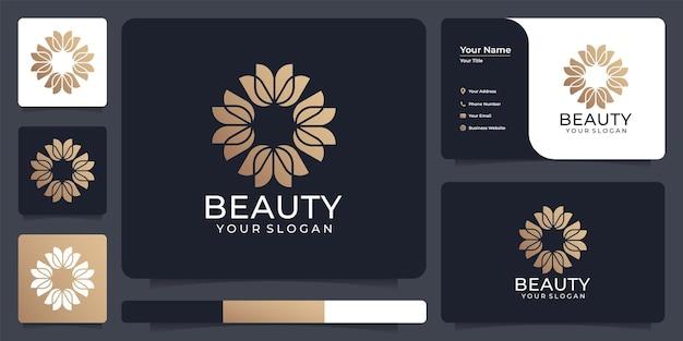 Feminines luxusblüten-goldblumen-logo-design