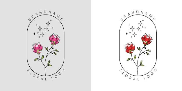 Feminines schönheitsblumenlogo für schönheitssalon-spa und boutique- und kosmetikgeschäft