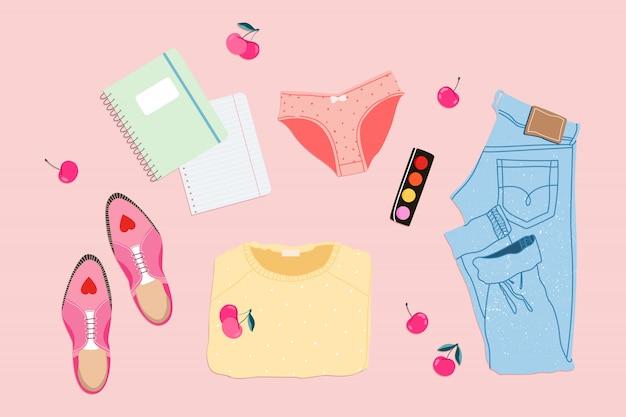 Feminines sommeroutfit lag. trendiger sommerlook. blaue jeans, gelber pullover und rosa schuhe auf einem rosa hintergrund. elemente. damenbekleidung und accessoires. moderne illustration.