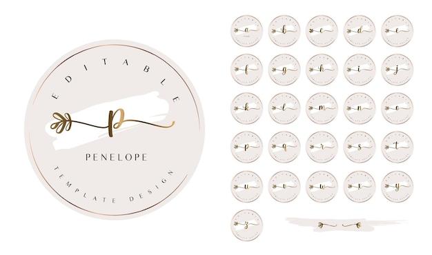 Feminines vorgefertigtes logo-kit mit alphabetbuchstaben und floralen kalligrafieschwänzen