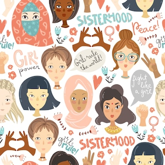 Feminismus. nahtloses muster mit frauenporträts und feminismus sig