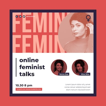 Feminismus quadratische fliegerschablone mit foto