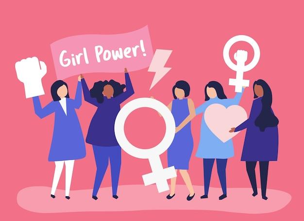 Feministinnen, die die gleichstellung der geschlechter mit einer friedlichen kundgebung unterstützen