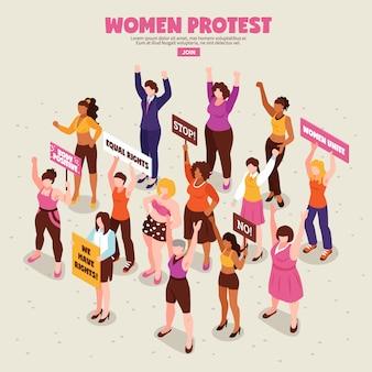 Feministinnen mit plakaten während der protestaktion