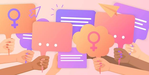 Feministinnen unterstützen die gleichstellung der geschlechter mit einer friedlichen kundgebunggirls powercrowd von menschen, die protestieren