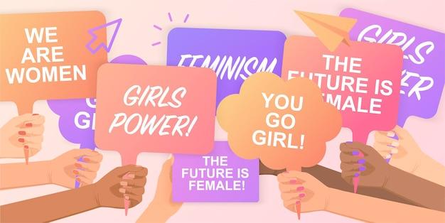 Feministinnen unterstützen die gleichstellung der geschlechter mit einer friedlichen kundgebunggirls powermenschenmenge, die für ihre rechte protestiert poster in händen haltenhand mit protestplakatfreiheitsprotestdemonstration