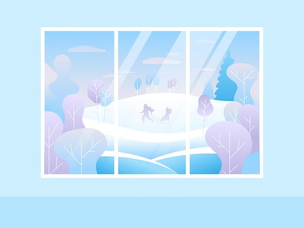 Fenster der winter-frohen weihnachten mit blick auf den schneebedeckten wald