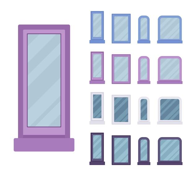 Fenster für bau mit glas im rahmen