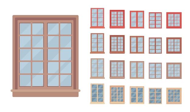 Fenster für gebäude mit glas in einem rahmen ausgestattet