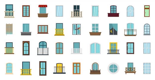 Fenster-icon-set. flacher satz der fenstervektor-ikonensammlung lokalisiert