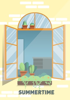 Fenster im sonnenscheinsommerplakat