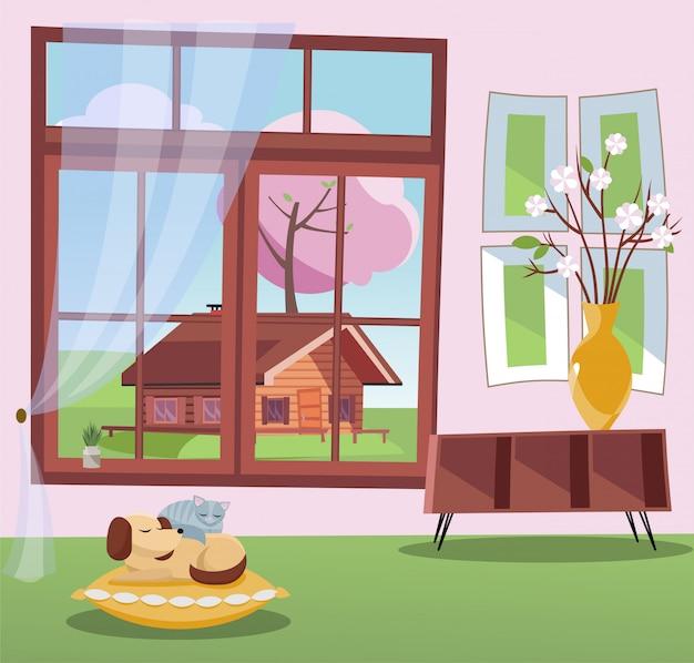 Fenster mit blick auf blütenbäume und landhaus. frühlingsinnenraum mit schlafender katze und hund auf kissen. sonniges wetter draußen.