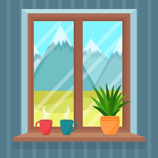 Fenster mit blick auf die schöne landschaft mit bergen, vektorillustration