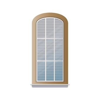 Fenster mit steinfurnier isoliert auf weißem hintergrund. elemente für die gestaltung von spielen oder häusern. vektor.