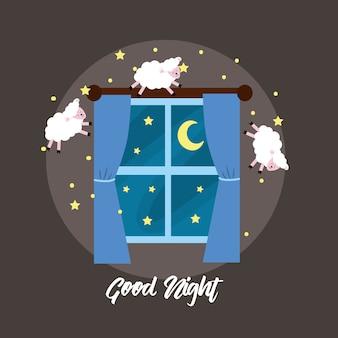 Fenster öffnen sich mit den schafen zum guten traum