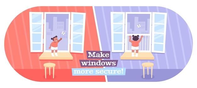 Fenster sicher für kinderillustration machen