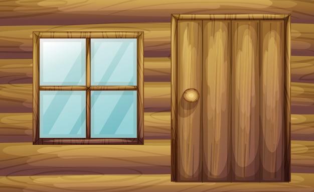 Fenster und tür eines hölzernen raumes