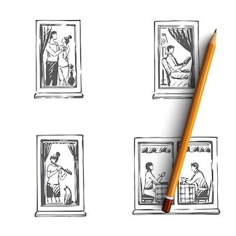 Fenster von hausleuten, die tanzen, lesen, musikillustration spielen
