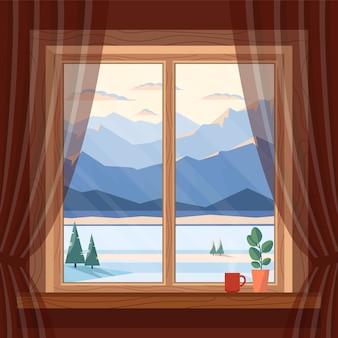 Fensteransicht der blauen berge, des schnees, der fichte und des flusses des morgens und des abends im winter