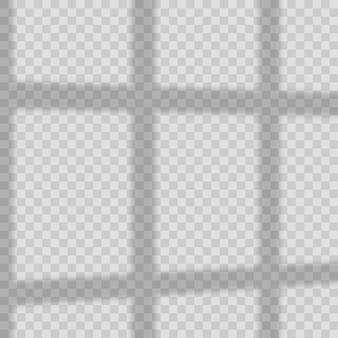 Fensterlichtschatteneffekt auf transparentem hintergrund. vektor.