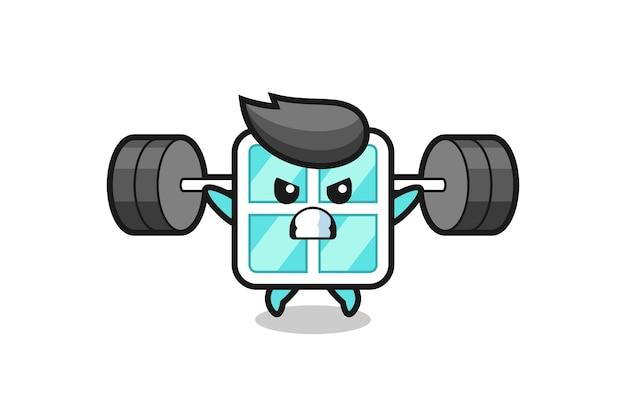 Fenstermaskottchen-cartoon mit einer langhantel, süßes design für t-shirt, aufkleber, logo-element