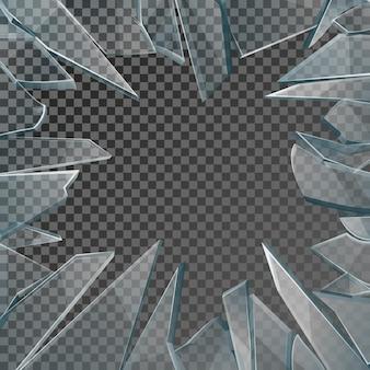 Fensterrahmen aus glasscherben. fensterglas zerbrochen isoliert auf kariertem hintergrund, illustrationsschadensglas mit loch