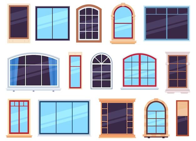 Fensterrahmen. außenansicht verschiedene holz- und detaillierte kunststofffenster, flügelrahmen auf hauswandarchitektur design flacher vektorsatz. abbildung des fensterinnenraums aus kunststoff und holzkonstruktion