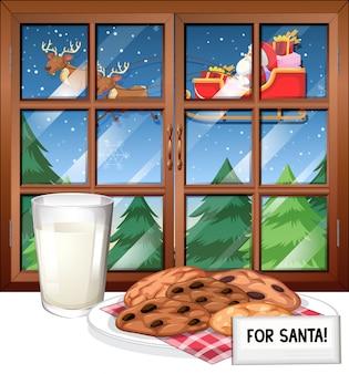 Fensterszene mit santa auf schlitten fliegen