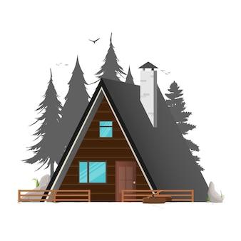 Ferienhaus. haus zum schenken und ausruhen. waldsilhouette. silhouette von bäumen und vögeln. isoliert. vektor.