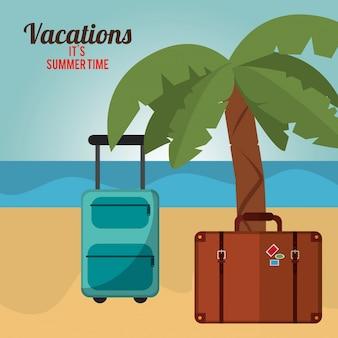 Feriensommerzeit-palme bagagge strand