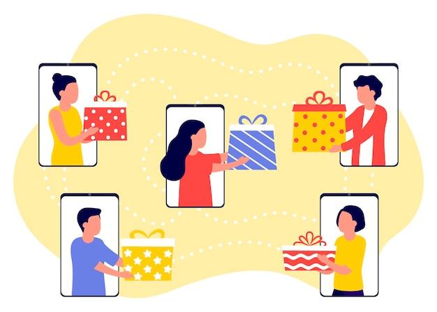 Fern-online-kommunikation von menschen und geschenke für feiertage machen gruppe von menschen feiert
