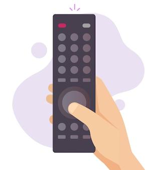 Fernbedienung für tv-flachkarikatur in persönlicher hand, die kanaltaste hält