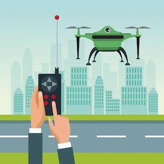 Fernbedienung mit grünen roboter drohne fliegen und basis