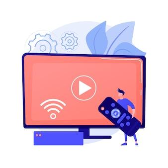 Fernbedienung. streaming media, heimnetzwerk-zugangsidee. integrierte unterhaltungstechnologie, internetfernsehen, sendungen. vektor isolierte konzeptmetapherillustration