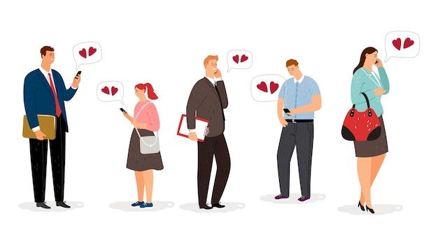 Fernbeziehung. flache zeichentrickfiguren mit smartphones.