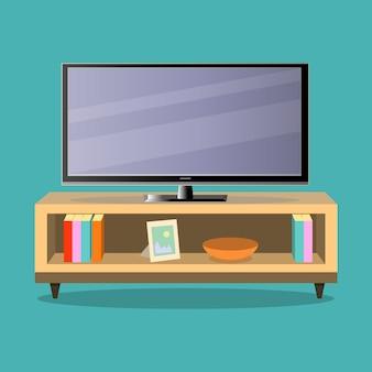 Fernsehapparat und fernsehtabelle im wohnzimmerillustrator