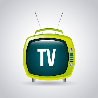 Fernsehdesign über grauer hintergrundvektorillustration