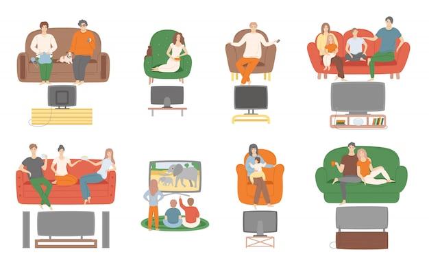 Fernsehen fernsehen gucken, leute sitzen auf der couch