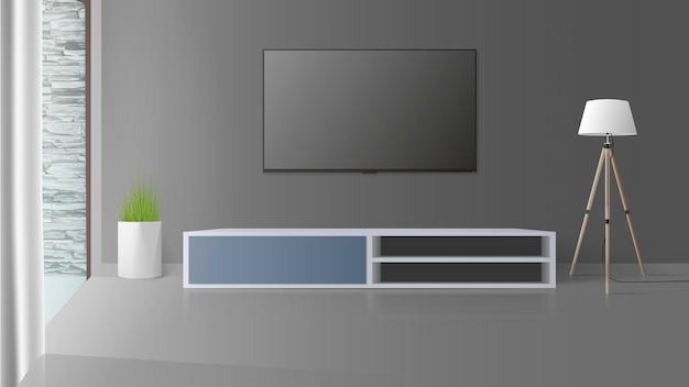 Fernseher an einer grauen wand. schalten sie den fernseher aus, einen langen nachttisch auf dem dachboden. illustration.