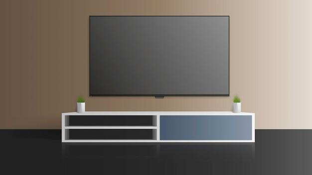 Fernseher an einer grauen wand. schalten sie den fernseher aus, einen langen nachttisch auf dem dachboden.