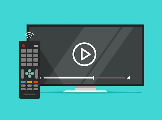 Fernsehflachbildschirm, der videofilm und flache karikatur clipart der fernbedienung aufpasst