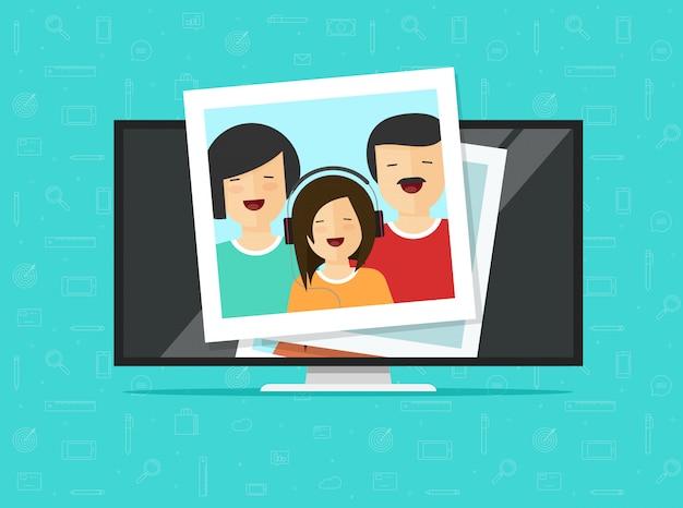 Fernsehflachbildschirm oder lcd-computermonitor mit flacher karikatur der fotokarten