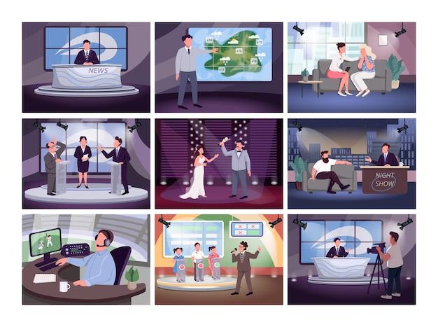 Fernsehsendung farbabbildungen gesetzt. zeigen sie hosts und nachrichtensprecher zeichentrickfiguren. medienbranche, verschiedene programme. tv-moderator beruf, show host beruf