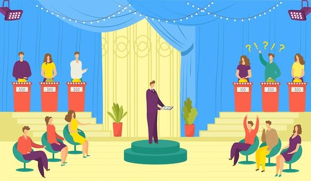 Fernsehshow, tv-spielillustration. tv-unterhaltungsprogramm mit teilnehmern, die fragen beantworten oder rätsel lösen und gastgeber. fernsehquiz. video broadcoast wettbewerb.