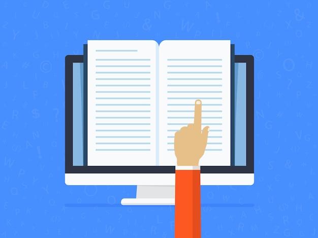 Fernunterricht online. bearbeiten und lesen eines textdokuments mit hilfe einer hand.